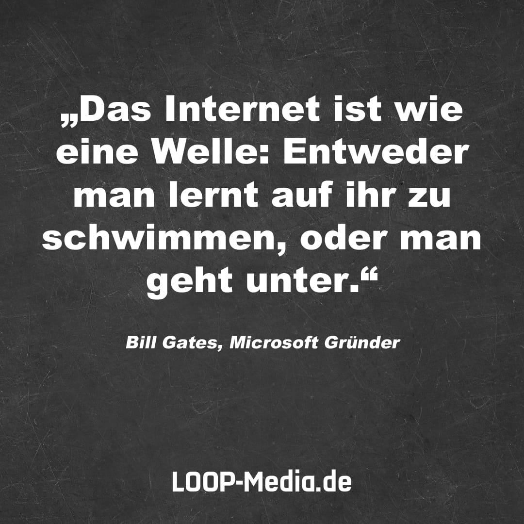 Das Internet ist wie eine Welle: Entweder man lernt auf ihr zu schwimmen, oder man geht unter. (Bill Gates, Microsoft Gründer)