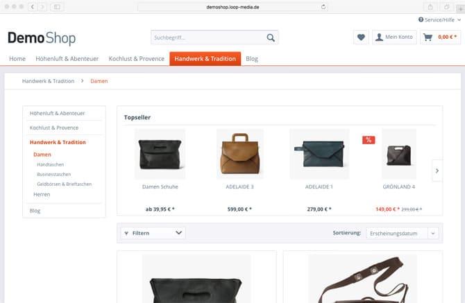 Online-Shop Betreuung